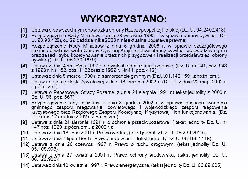 WYKORZYSTANO:[1] Ustawa o powszechnym obowiązku obrony Rzeczypospolitej Polskiej (Dz. U. 04.240.2413);